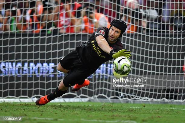 Petr Cech of Arsenal defends the goal during the International Champions Cup 2018 match between Club Atletico de Madrid and Arsenal at the National...