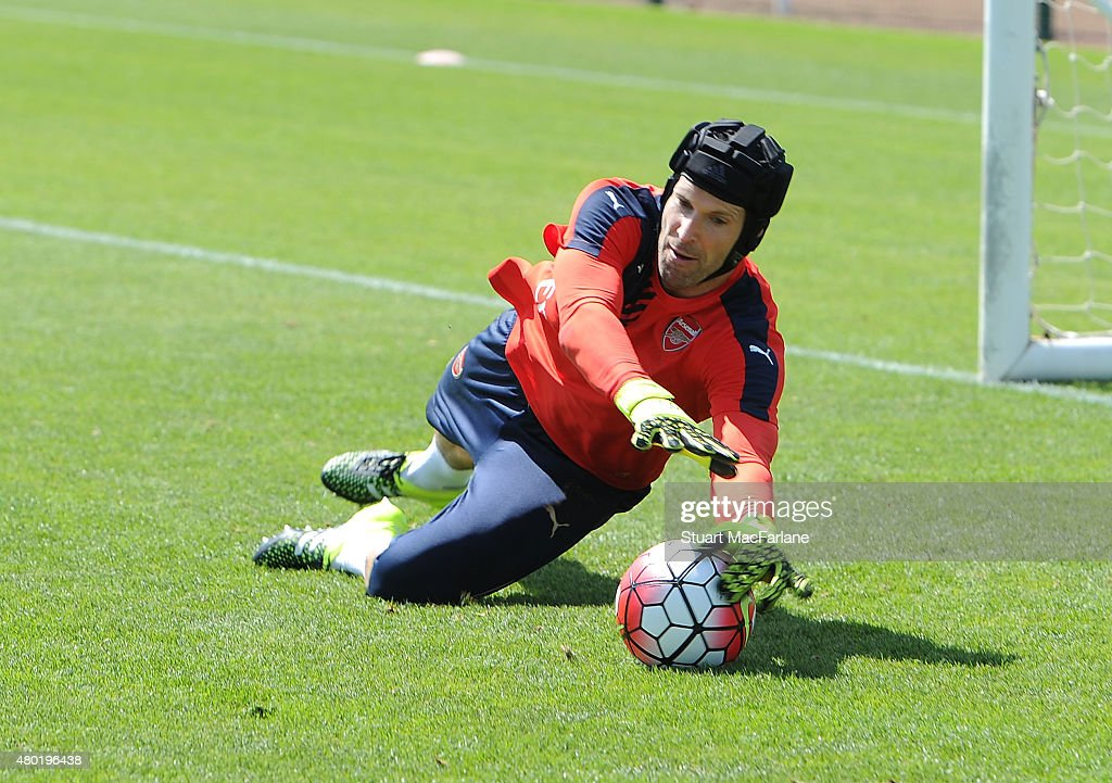 Petr Cech of Arsenal during a training session at London Colney on July 10, 2015 in St Albans, England.