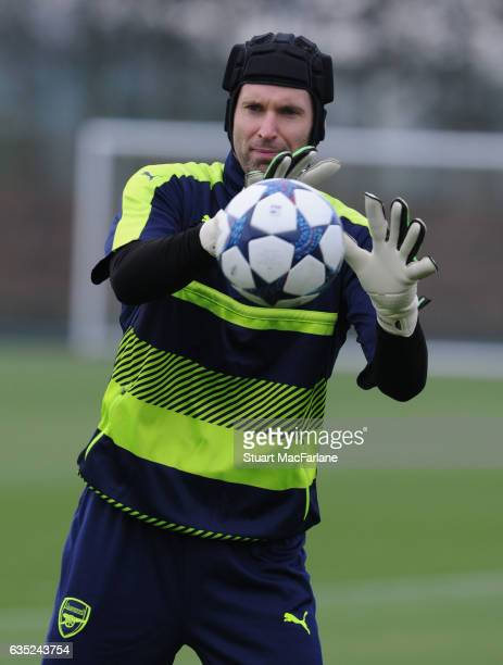 Petr Cech of Arsenal during a training session at London Colney on February 13, 2017 in St Albans, England.