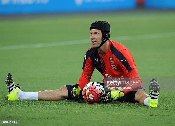 Petr Cech of Arsenal during a training session at the Singapore National Stadium on July 14 2015 in Kallang Photo by Stuart MacFarlane/Arsenal FC via...
