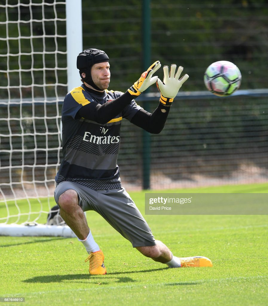 Petr Cech of Arsenal during the Arsenal Training Session at London Colney on May 24, 2017 in St Albans, England.