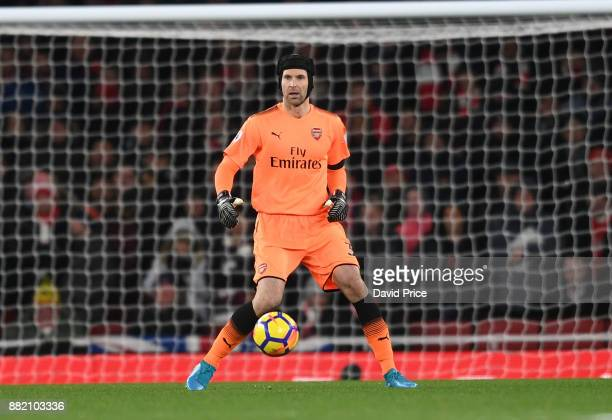 Petr Cech of Arsenal during the Premier League match between Arsenal and Huddersfield Town at Emirates Stadium on November 29 2017 in London England