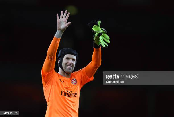 Petr Cech of Arsenal during the UEFA Europa League quarter final leg one match between Arsenal FC and CSKA Moskva at Emirates Stadium on April 5 2018...