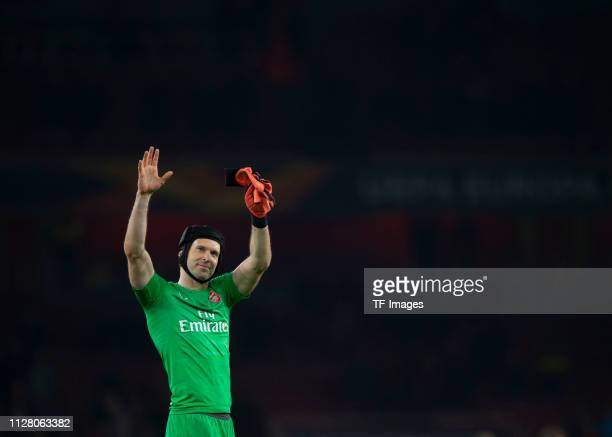 Petr Cech of Arsenal gestures during the UEFA Europa League Round of 32 Second Leg match between Arsenal and BATE Borisov at Emirates Stadium on...
