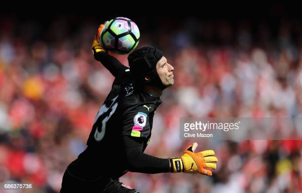 Petr Cech of Arsenal in action during the Premier League match between Arsenal and Everton at Emirates Stadium on May 21 2017 in London England