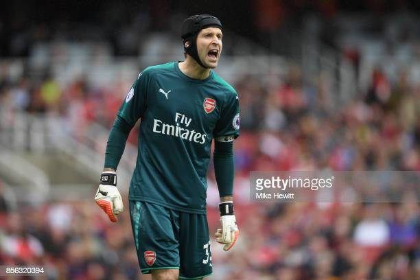 Petr Cech of Arsenal in action during the Premier League match between Arsenal and Brighton and Hove Albion at Emirates Stadium on October 1 2017 in...