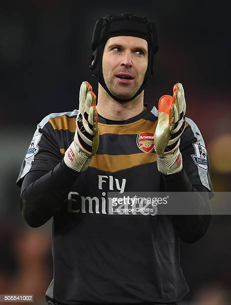Petr Cech of Arsenal looks on during the Barclays Premier League match between Stoke City and Arsenal at The Britannia Stadium on January 17 2016 in...