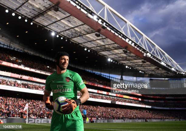 Petr Cech of Arsenal looks on during the Premier League match between Arsenal FC and Everton FC at Emirates Stadium on September 23 2018 in London...