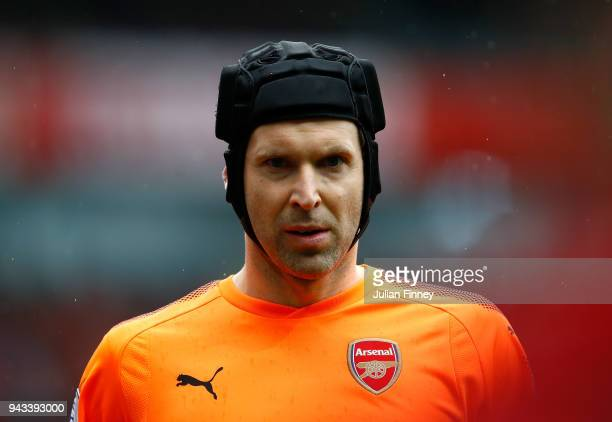 Petr Cech of Arsenal looks on during the Premier League match between Arsenal and Southampton at Emirates Stadium on April 8 2018 in London England