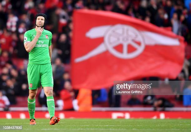 Petr Cech of Arsenal looks on following the Premier League match between Arsenal FC and Everton FC at Emirates Stadium on September 23 2018 in London...