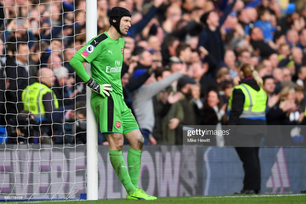 Petr Cech of Arsenal reacts after a mistake led to Cesc Fabregas of Chelsea scoring his team's thirs goal during the Premier League match between Chelsea and Arsenal at Stamford Bridge on February 4, 2017 in London, England.