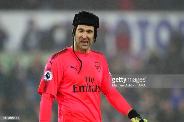 Petr Cech of Arsenal reacts at the end of the Premier League match between Swansea City and Arsenal at Liberty Stadium on January 30 2018 in Swansea...