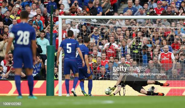 Petr Cech of Arsenal saves a penalty from Alvaro Morata of Chelsea during the International Champions Cup 2018 match between Arsenal and Chelsea at...