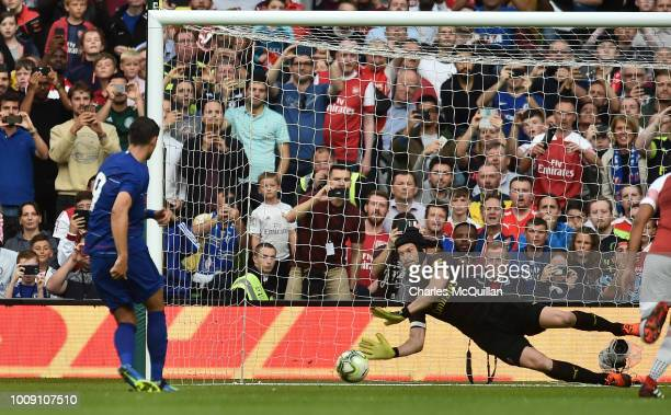Petr Cech of Arsenal saves a penalty from Alvaro Morata of Chelsea during the Preseason friendly International Champions Cup game between Arsenal and...