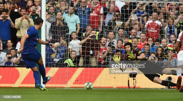 Petr Cech of Arsenal saves a penalty kick from Alvaro Morata of Chelsea during the Preseason friendly International Champions Cup game between...