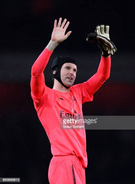 Petr Cech of Arsenal shows appreciation to the fans after the Premier League match between Arsenal and Newcastle United at Emirates Stadium on...