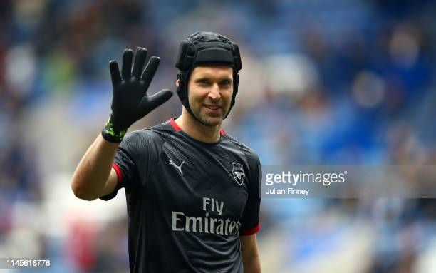 Petr Cech of Arsenal warms up prior to the Premier League match between Leicester City and Arsenal FC at The King Power Stadium on April 28 2019 in...