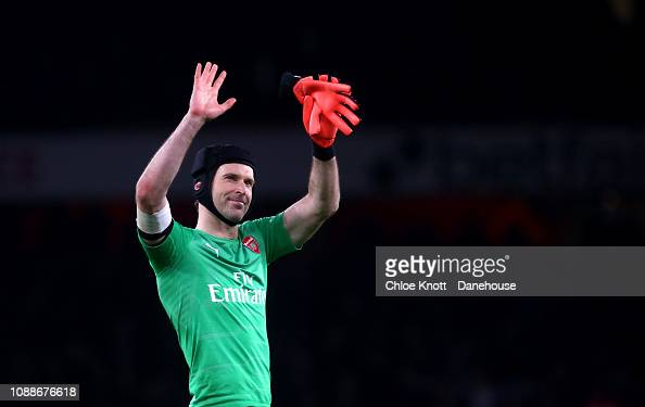 Petr Cech Of Arsenal Waves At The Crowd At The End Of The