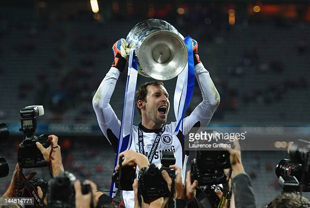 Petr Cech of Chelsea celebrates with the trophy after their victory in the UEFA Champions League Final between FC Bayern Muenchen and Chelsea at the...