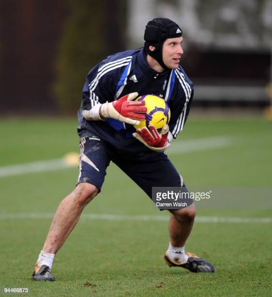 Petr Cech of Chelsea during a training session at the Cobham training ground on December 15 2009 in Cobham England