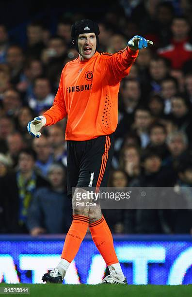 Petr Cech of Chelsea gestures during the Barclays Premier League match between Chelsea and Middlesbrough at Stamford Bridge on January 28 2009 in...