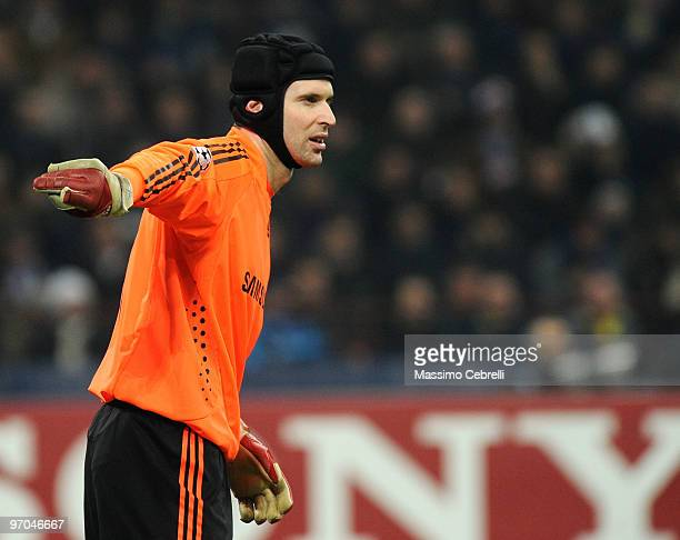 Petr Cech of Chelsea gestures during the UEFA Champions League round of 16 first leg match between FC Inter Milan and Chelsea on February 24 2010 in...