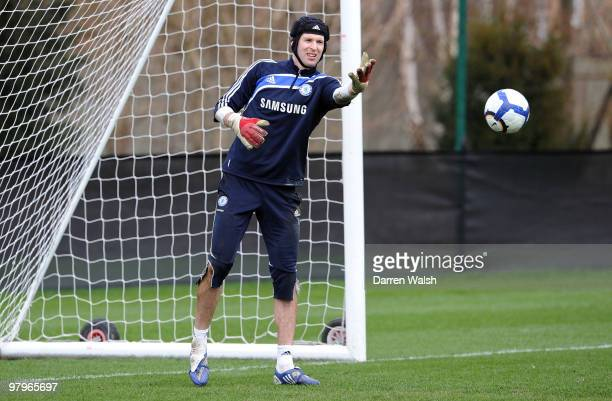 Petr Cech of Chelsea in action during a training session at the Cobham training ground on March 23 2010 in Cobham England
