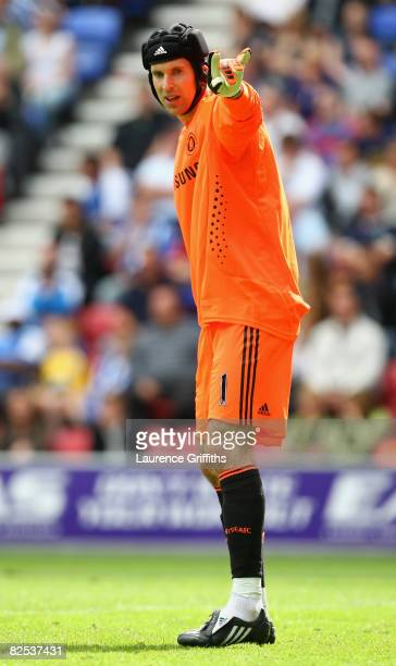 Petr Cech of Chelsea in action during the Barclays Premier League match between Wigan Athletic and Chelsea at The JJB Stadium on August 24 2008 in...