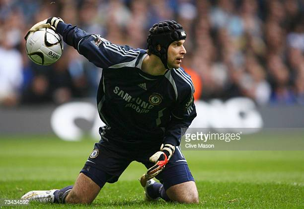 Petr Cech of Chelsea in action during the Carling Cup Final match between Chelsea and Arsenal at the Millennium Stadium on February 25, 2007 in...