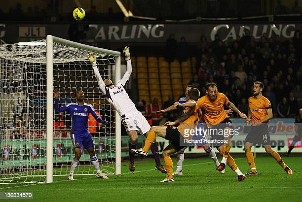 Petr Cech of Chelsea makes a save during the Barclays Premier League match between Wolverhampton Wanderers and Chelsea at Molineux on January 2 2012...