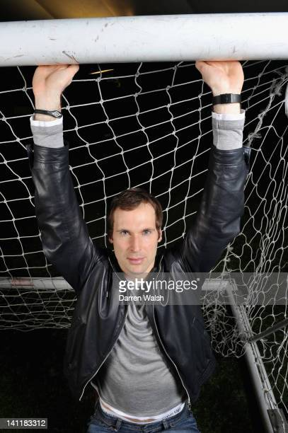 Petr Cech of Chelsea poses during a portrait session at the Cobham training ground on February 23 2012 in Cobham England