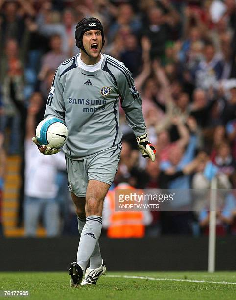 Petr Cech of Chelsea reacts after the second Aston Villa goal during the Premier league football match at Villa Park Birmingham England 2 September...