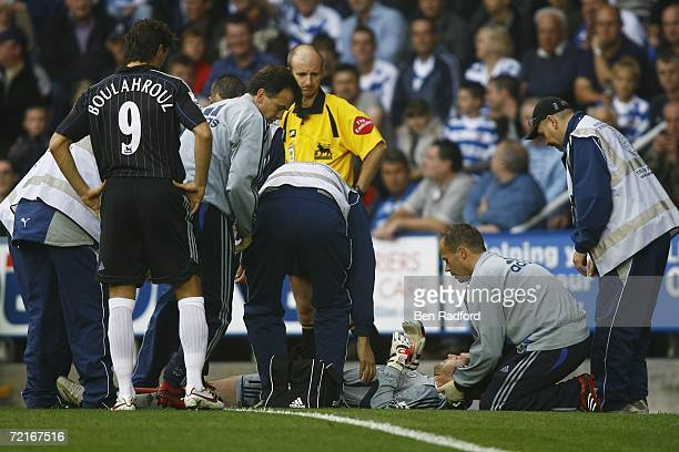 Petr Cech of Chelsea receives treatment during the Barclays Premiership match between Reading and Chelsea at the Madejski Stadium on October 14, 2006...