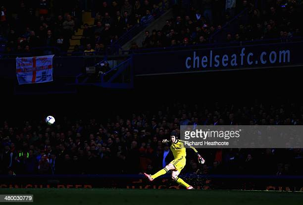 Petr Cech of Chelsea takes a goal kick during the Barclays Premier League match between Chelsea and Arsenal at Stamford Bridge on March 22 2014 in...