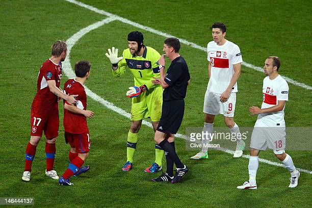 Petr Cech of Czech Republic clashes with Vaclav Pilar of Czech Republic during the UEFA EURO 2012 group A match between Czech Republic and Poland at...