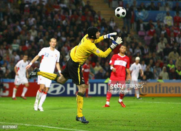 Petr Cech of Czech Republic fumbles the ball and afterwards Nihat Kahveci of Turkey scores his team's second goal during the UEFA EURO 2008 Group A...