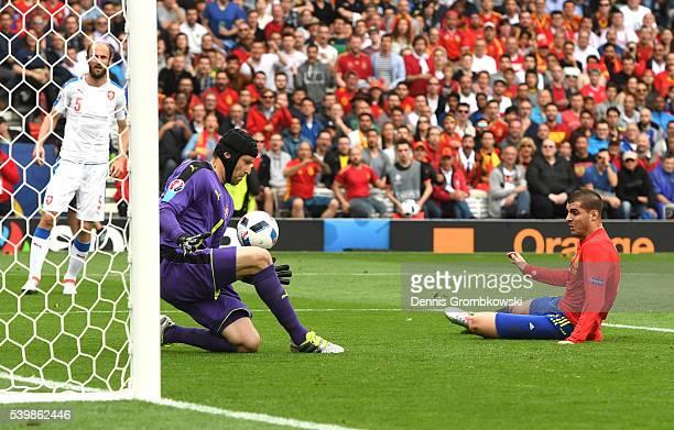 Petr Cech of Czech Republic makes a save during the UEFA EURO 2016 Group D match between Spain and Czech Republic at Stadium Municipal on June 13...