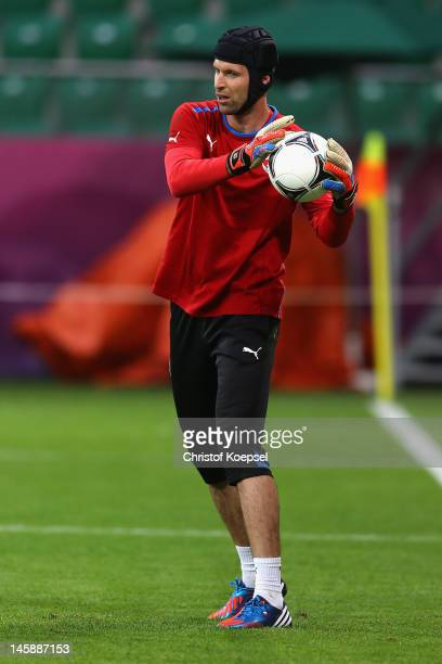 Petr Cech of Czech Republic saves a ball during a Czech Republic training session prior to the UEFA EURO 2012 Group A opening game against Russia at...
