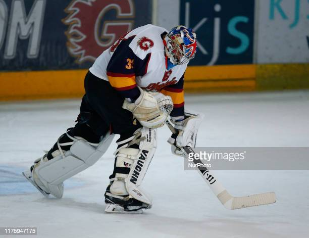 Petr Cech of Guildford Phoenix Ex Arsenal and Chelsea Player celebrates his save during National Ice Hockey League between Guildford Phoenix and...