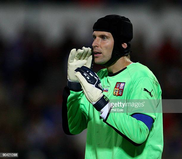Petr Cech of the Czech Republic during a World Cup Qualifiying Group Three Match between Slovakia and Czech Republic at the SK Slovan Stadium on...