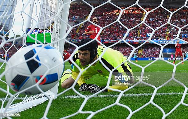 Petr Cech of the Czech Republic looks at the ball in the back of the net after Turkey's first goal during the UEFA EURO 2016 Group D match between...