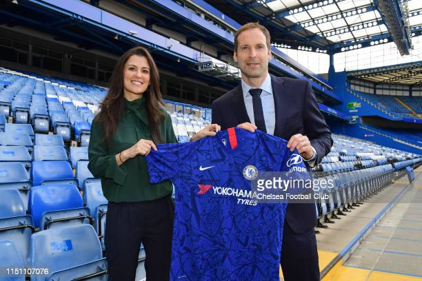 Petr Cech poses with Chelsea Director Marina Granovskaia as he becomes the Technical and Performance Advisor of Chelsea Football Club at Stamford...