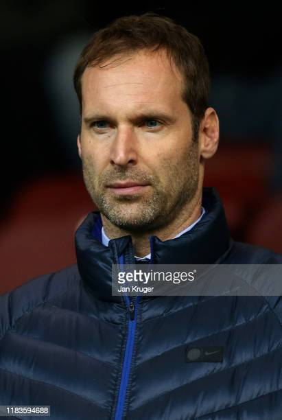 Petr Cech technical and performance advisor at Chelsea looks on during the Premier League match between Burnley FC and Chelsea FC at Turf Moor on...