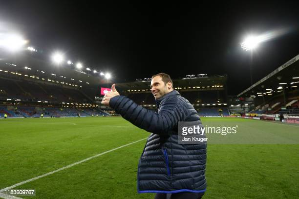Petr Cech, technical and performance advisor for Chelsea acknowledges the fans after the Premier League match between Burnley FC and Chelsea FC at...