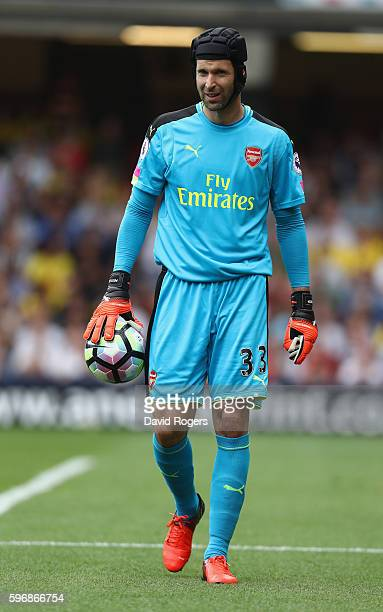 Petr Cech the Arsenal keeper looks on during the Premier League match between Watford and Arsenal at Vicarage Road on August 27 2016 in Watford...
