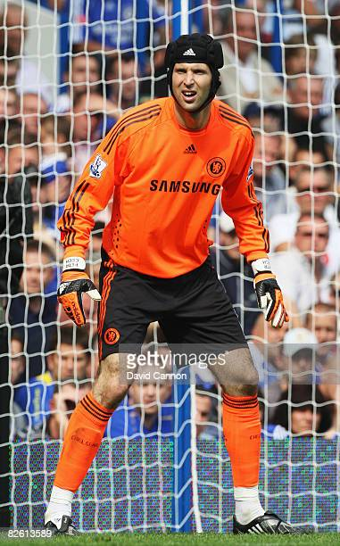 Petr Cech the Chelsea goalkeeper in action during the Barclays Premier League match between Chelsea and Tottenham Hotspur at Stamford Bridge on...