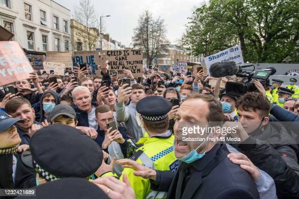 Petr Chech talking with fans who protest against Super League before the Premier League match between Chelsea and Brighton & Hove Albion at Stamford...