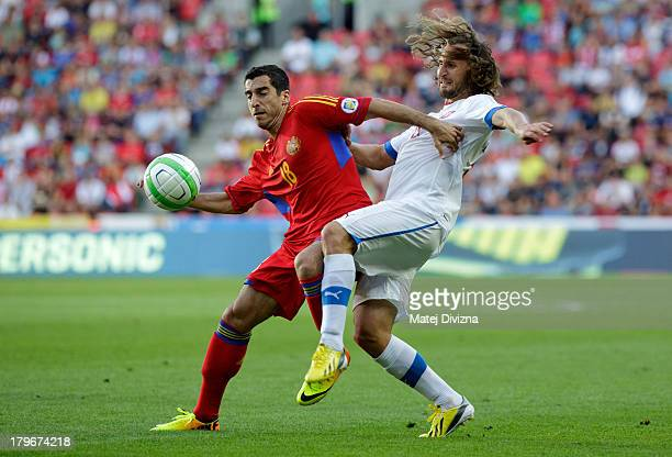Petr Jiracek of Czech Republic and Henrikh Mkhitaryan of Armenia fight for ball during their FIFA 2014 World Cup Qualifier group B match at Synot Tip...