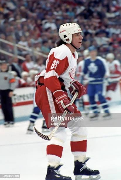 Petr Klima of the Detroit Red Wings skates against the Toronto Maple Leafs during NHL game action on March 24 1989 at Joe Louis Arena in Detroit...