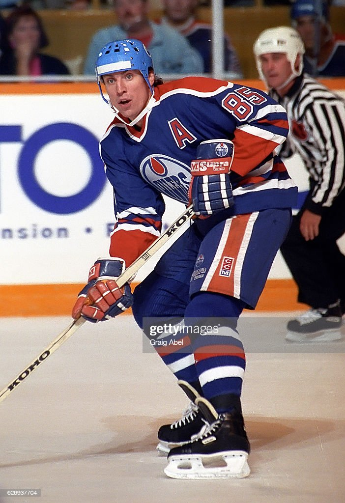 Petr Klima #85 of the Edmonton Oilers skates up ice against the Toronto Maple Leafs during preseason game action on September 21, 1991 at Maple Leaf Gardens in Toronto, Ontario Canada.